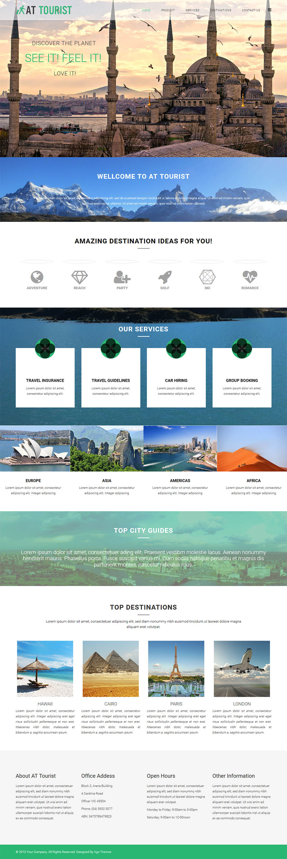 AGE Themes Tourist Onepage V Travel Landing Page Template For - Joomla landing page template