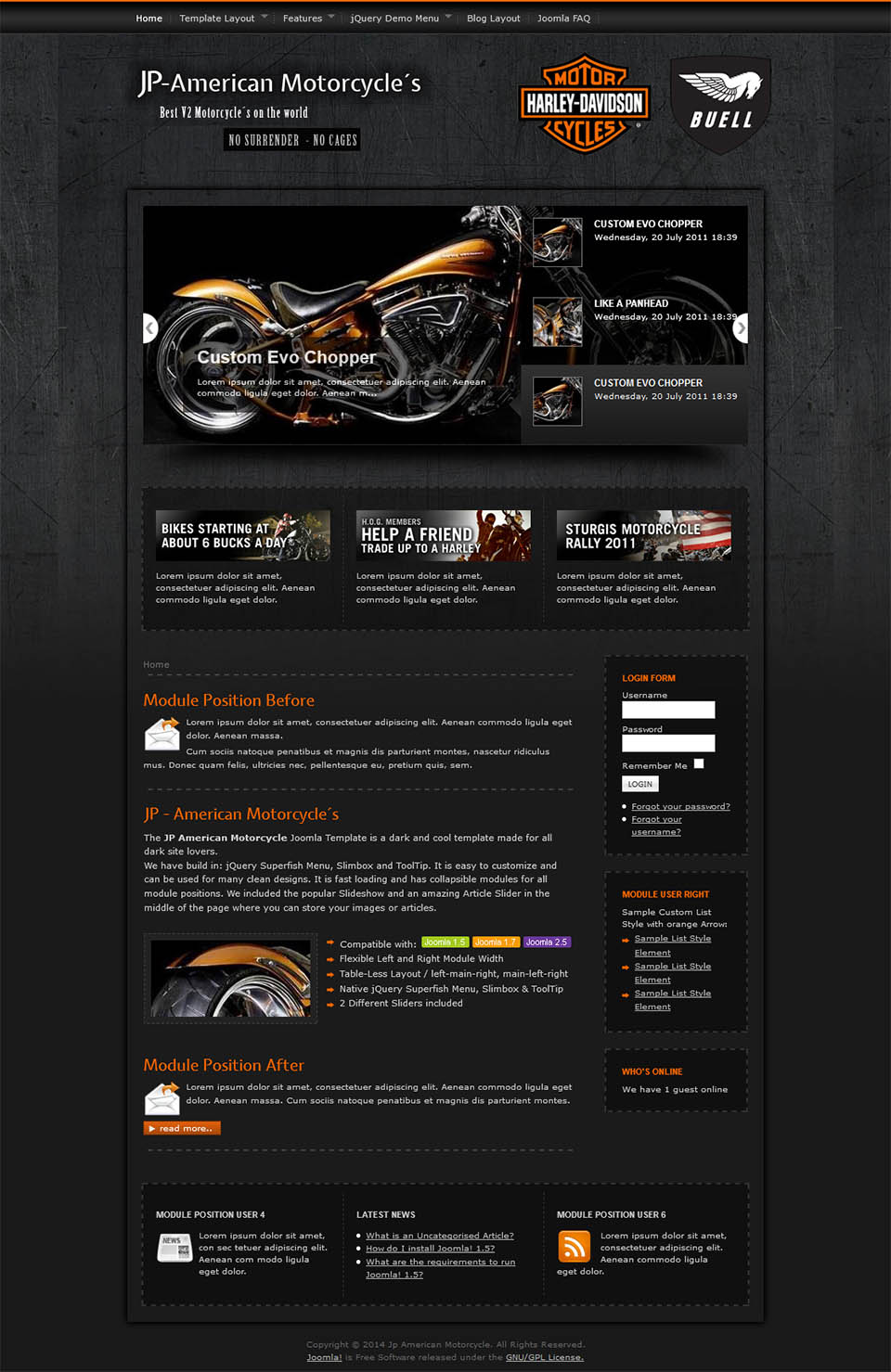 Joomlaplates American Motorcycle V25003 Template About