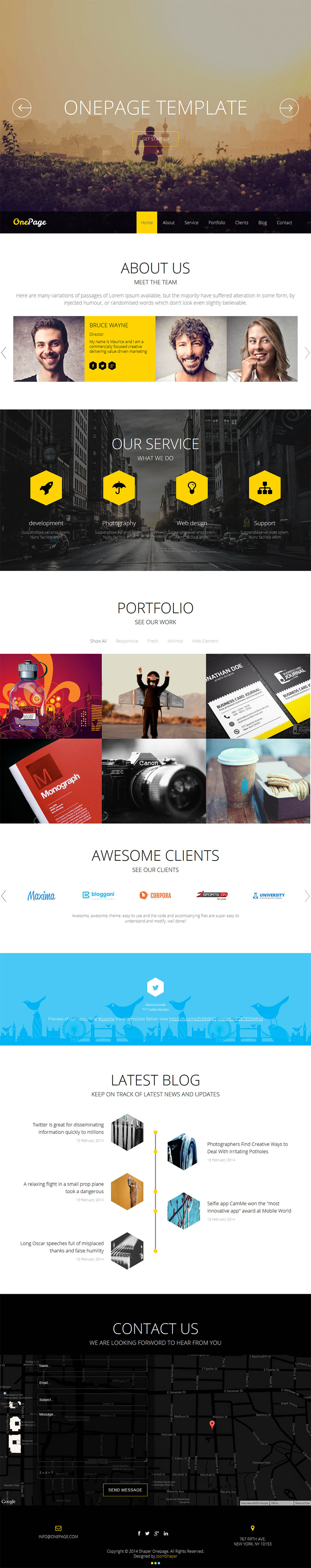 Joomshaper onepage v2 6 0 one page portfolio template for Joomla org templates