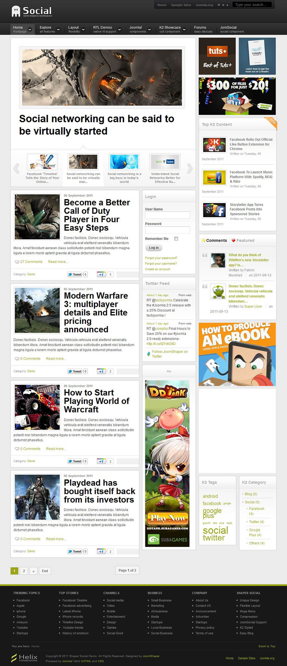 Joomshaper social v1 0 0 the community template for joomla for Social networking sites templates php