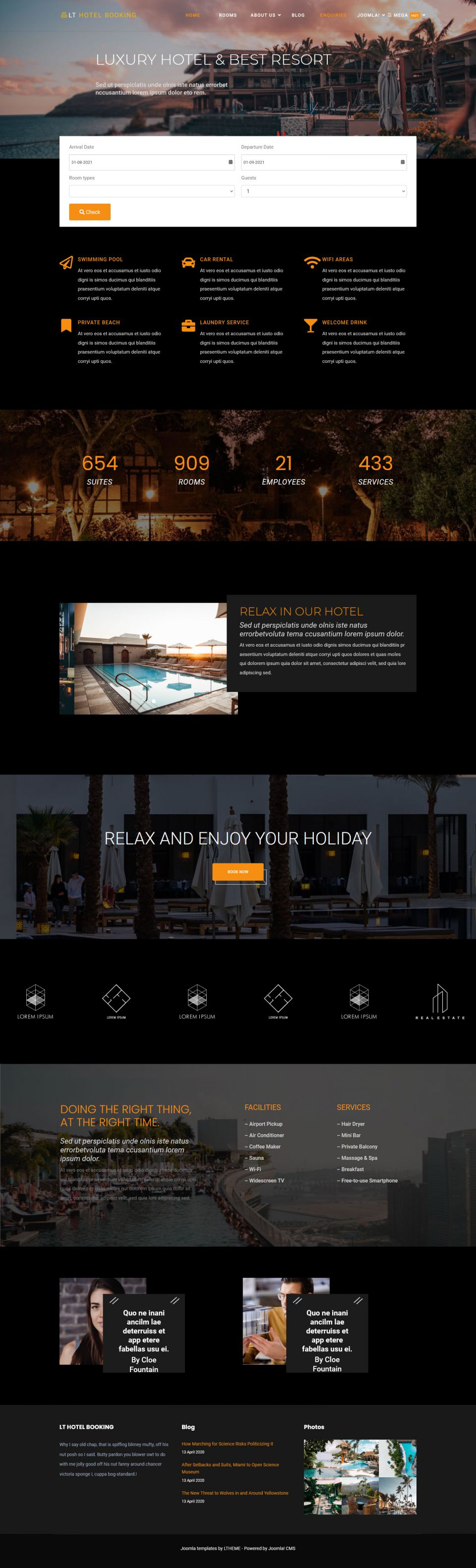 LTheme Hotel Booking v1.0.0 - template hotel booking for Joomla