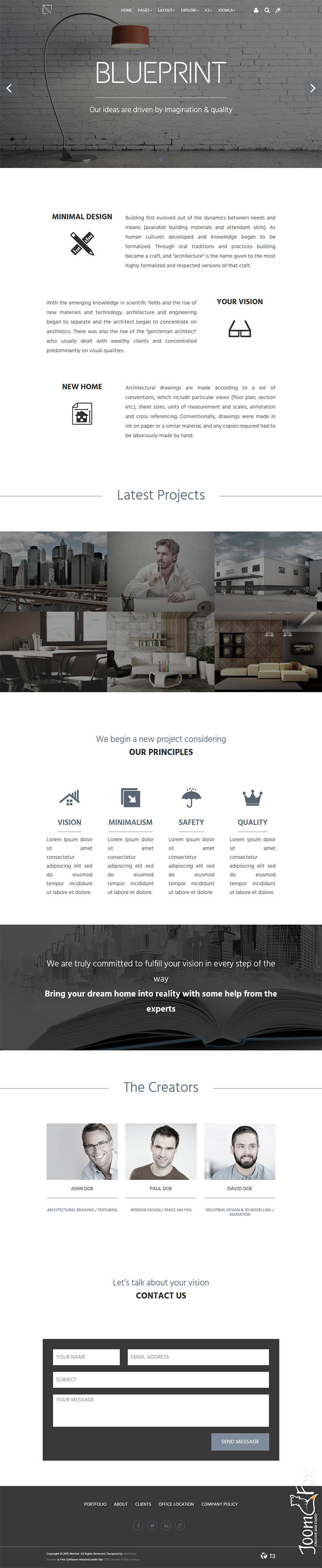 Minitek blueprint v302 the architectural company template joomla image of template minitek blueprint malvernweather Images