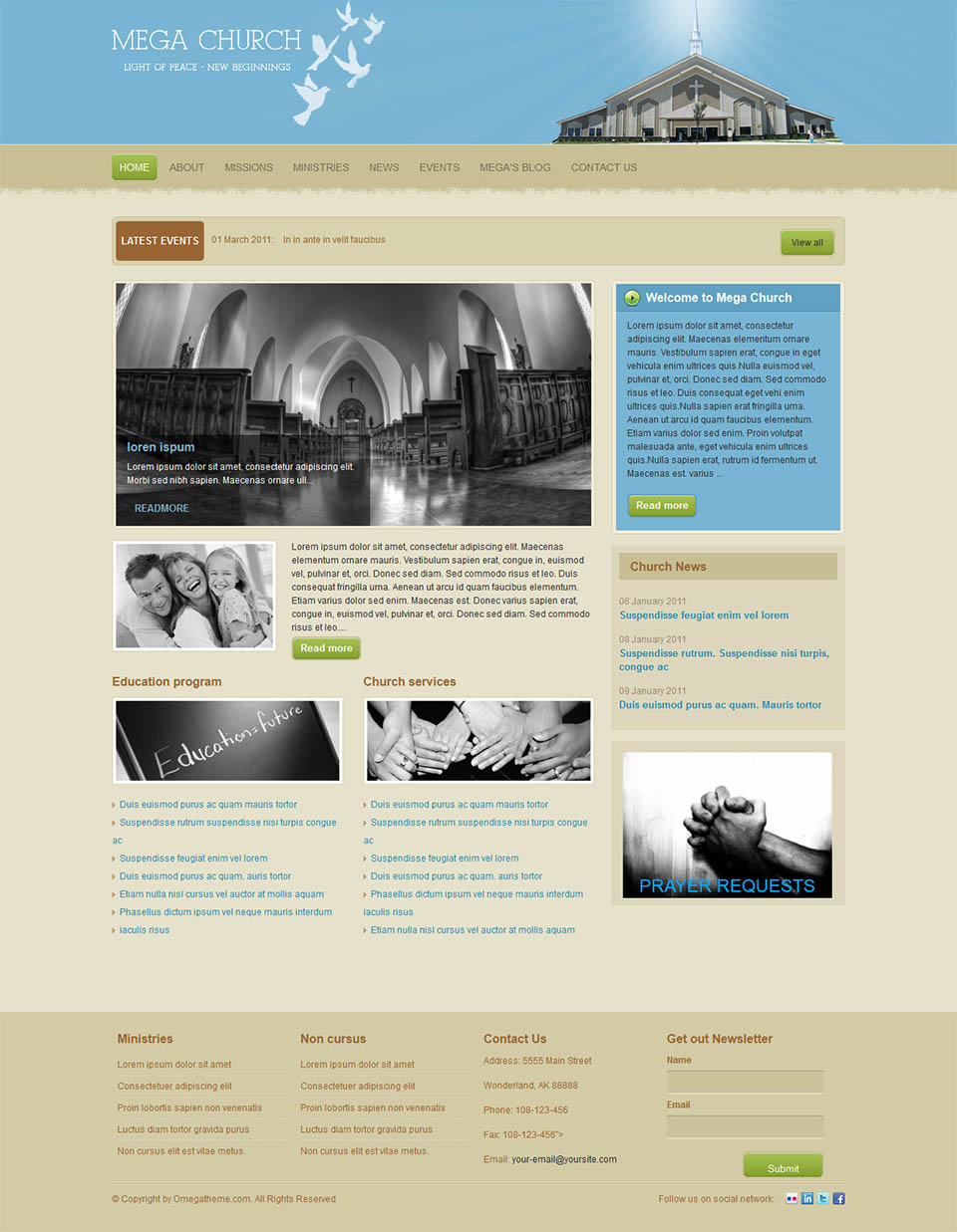 Omegatheme Church V200 The Temple Template For Joomla