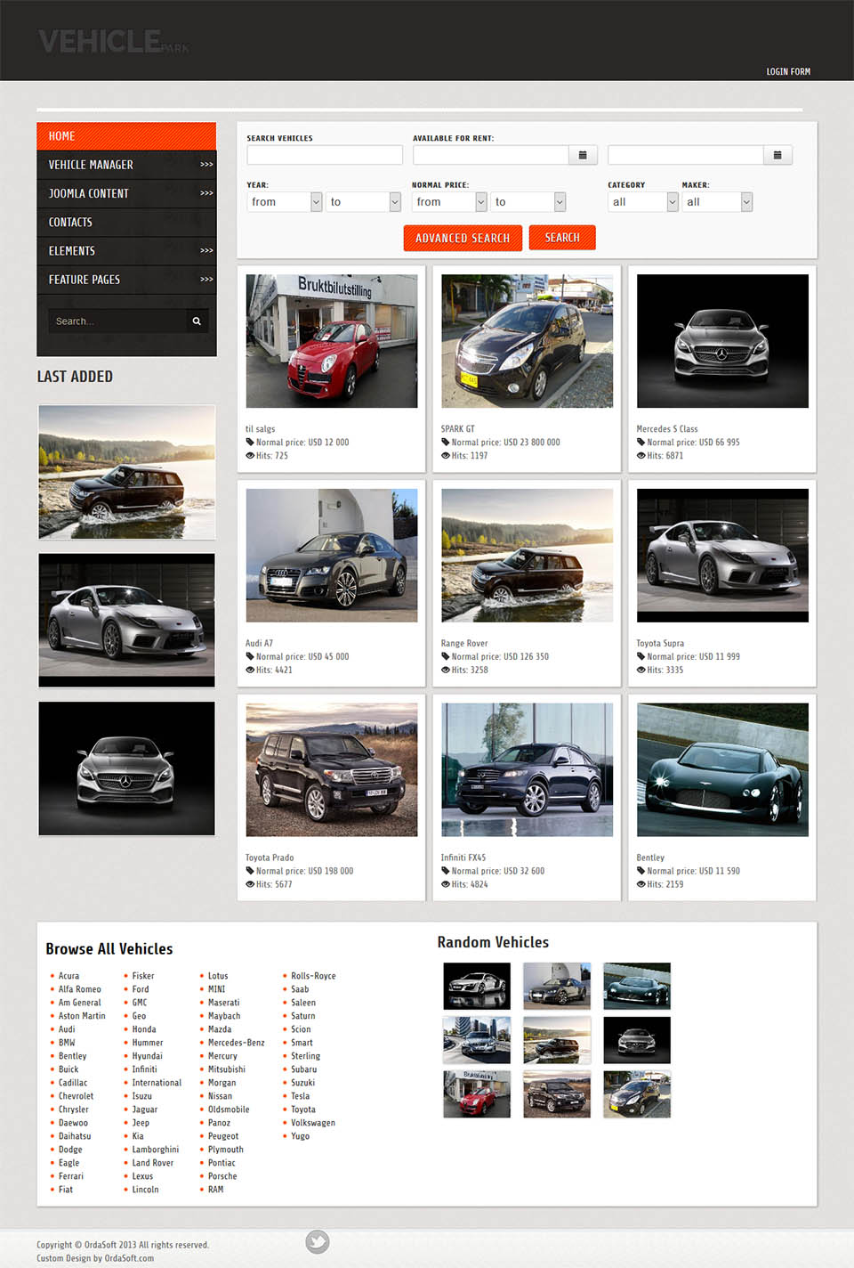 Ordasoft Vehicle Park V372 Joomla Car Dealer Template