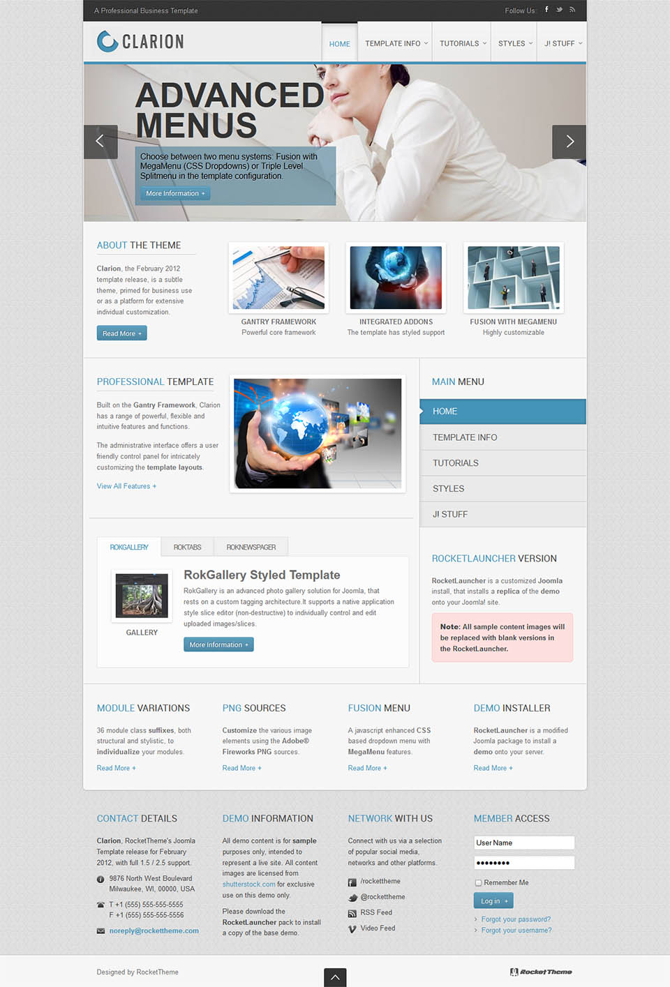 RocketTheme Clarion v1.11.0 - corporate template for Joomla