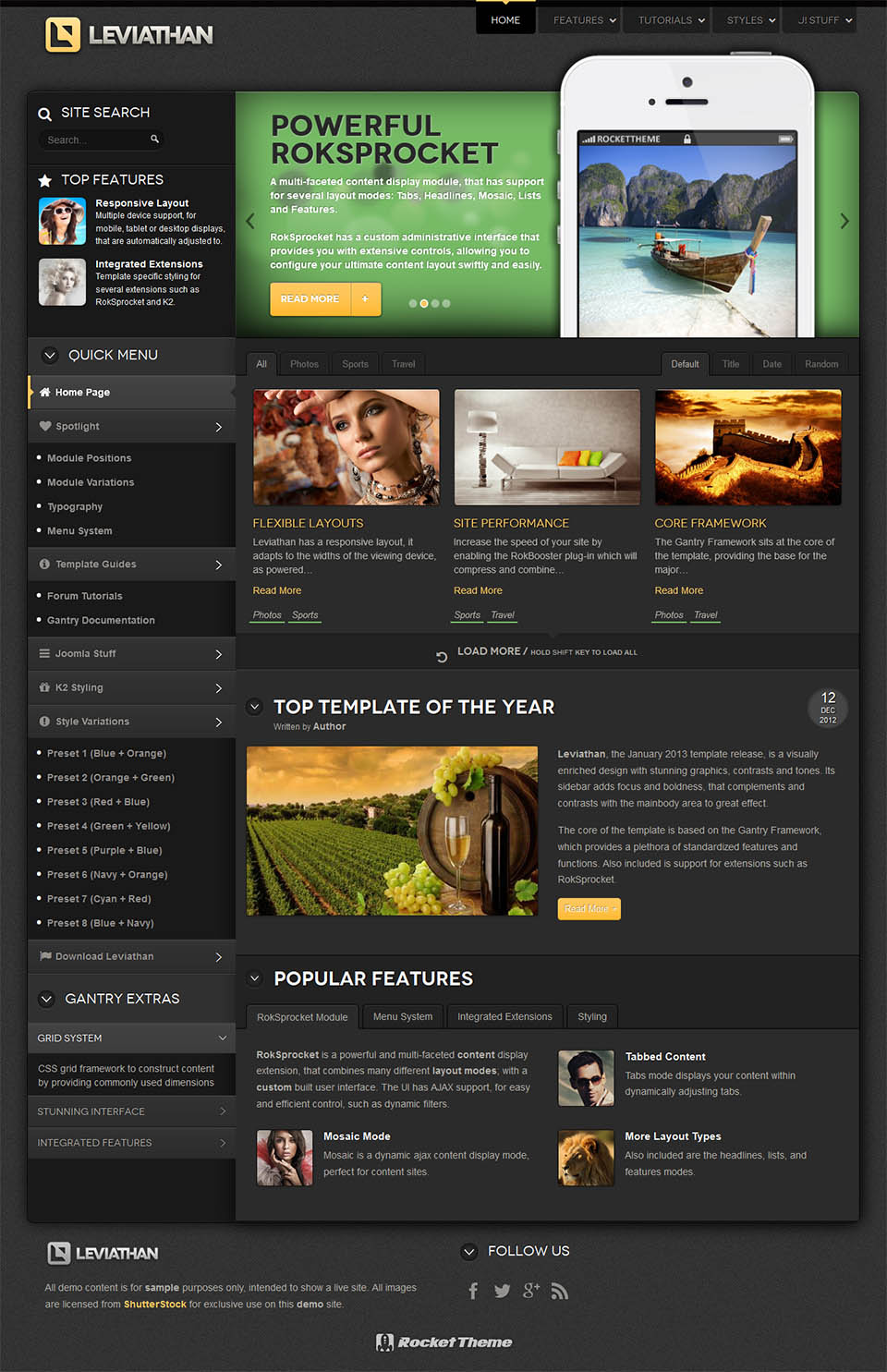 Template For Joomla Rockettheme Leviathan Free