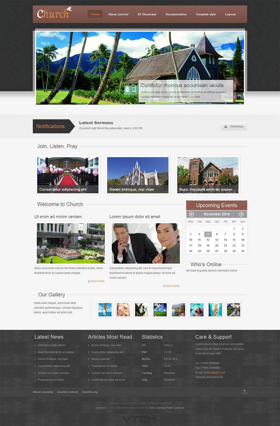 Vtem Church V100 The Charity Template For Joomla