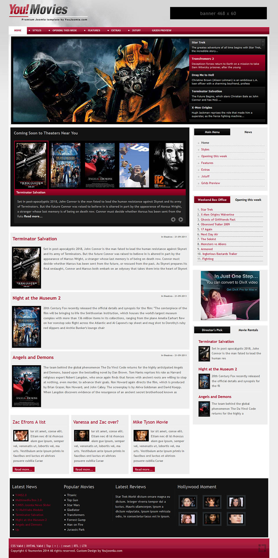 Youjoomla Youmovies V103 A Portal Template About The Movie For